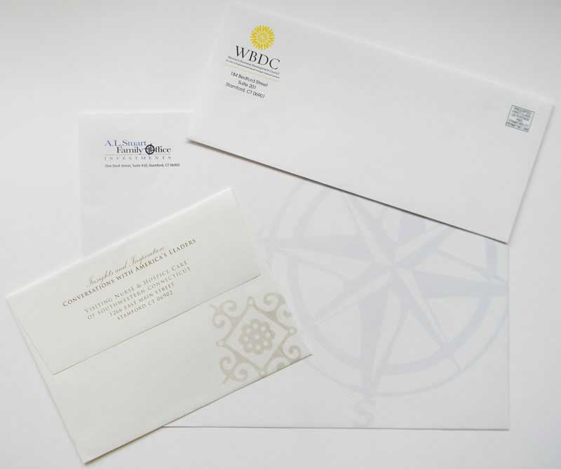 different size envelopes printed by Rapid Press in Stamford